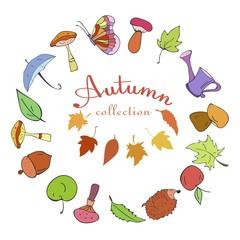 Set of Autumn color doodle icons.
