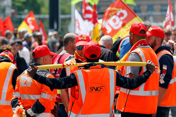 Striking French SNCF railway employees gather as they protest the French govenment's reform bill     in Lyon