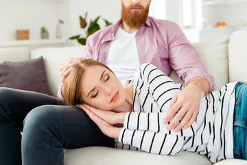 Red hair bearded hipster happiness serenity purity beauty quiet pleasure enjoy joy tranquil partner concept. Close up portrait of charming cute lovely sweet beautiful lady sleeping on husband's knees