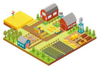 Vector 3d isometric rural farm with mill, garden field, trees, tractor combine harvester, house, windmill and warehouse for app and game.