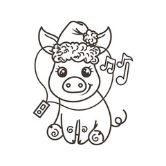 Happy New 2019 Year card with cartoon baby pig. Small symbol of holiday.