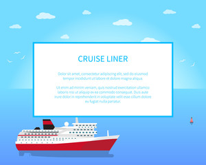 Big Red and White Cruise Liner, Colorful Banner