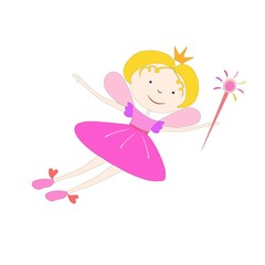 Color Cartoon fairy flying with a magic wand