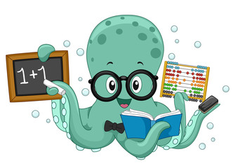 Octopus Math Teacher Illustration