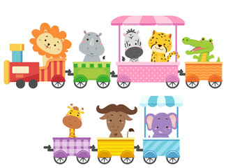Zoo Animals Colorful Train Illustration