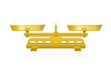 Golden weighing scale with two perfectly balanced pans and a pointer in the middle. 3d illustration on white background.