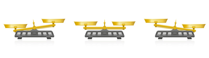 Two pan balance. Weighing scale with golden pans and pointer and gray base - balanced and unbalanced, equal and unequal weightiness. Three-dimensional isolated vector illustration on white background.