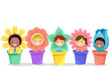 Stickman Kids Flowers Pots Illustration