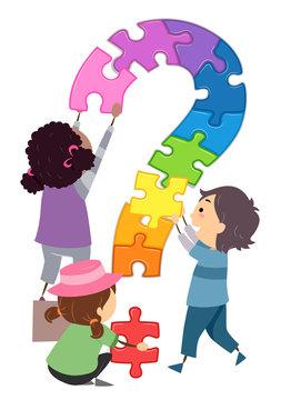Stickman Kids Puzzle Question Mark Illustration