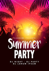 Vector illustration abstract flyer poster design summer beach party template