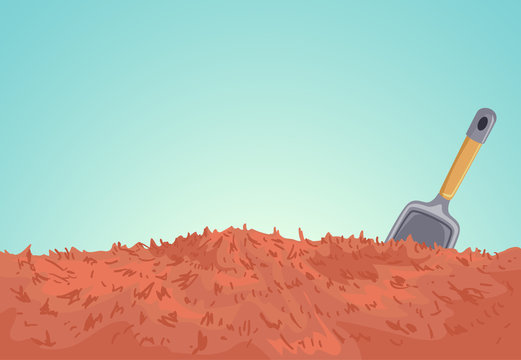 Mulch Soil Shovel Illustration