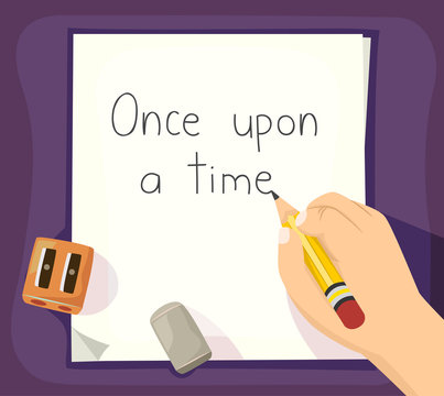 Hand Kid Write Story Illustration