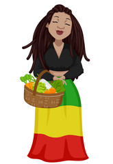 Girl Subculture Rastafarian Basket Illustration