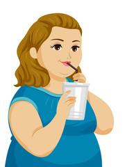 Teen Girl Fat Drink Illustration