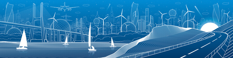 City infrastructure industrial illustration panorama. Large cable-stayed bridge across the river. Automobile road in mountains. White lines on blue background. Vector design art