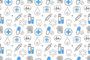 Medical seamless pattern , clinic vector illustration. Hospital thin line icons - thermometer, check up, diagnostic, microscope, stethoscope.