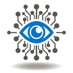 Eye Circuit Icon Vector. AI Illustration. Smart Machine Computing Learning Network Digital Logo. Big brother electronic eye concept, technologies for the global surveillance symbol.