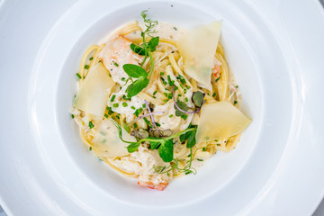 Linguini pasta with crab