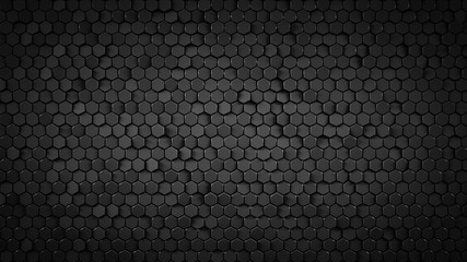 Black hexagonal background abstract 3D render