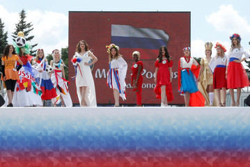 "Women take part in a regional preliminary stage of the ""Miss Russia"" beauty contest in Stavropol"