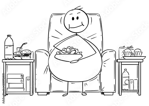 Cartoon Stick Drawing Illustration Of Fat Or Overweight Man Sitting On  Armchair, Watching Tv Or