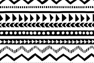White and black geometric background. Ethnic hand drawn pattern