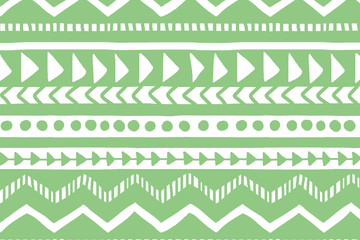 White and green geometric background. Ethnic hand drawn pattern