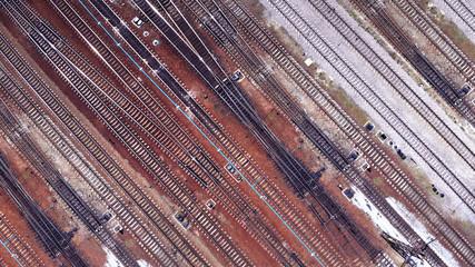 Wall Murals Railroad Railway road track. Aerial drone photo.