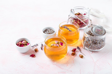 Mix of healthy herbal tea