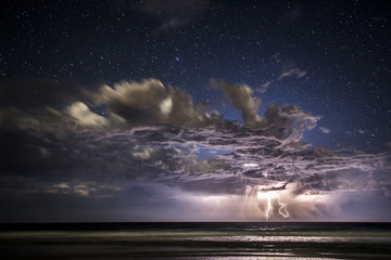 Long exposure of stormy cloud over sea