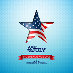Independence Day of the USA Vector Illustration with Flag in Cutting Star. Fourth of July Design on Light Background for Banner, Greeting Card, Invitation or Holiday Poster.
