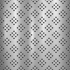 Wall Mural - Metal technology background with with seamless circle perforated pattern and circular polished, brushed texture, chrome, silver, steel for design concepts, web, prints, wallpapers. Vector illustration
