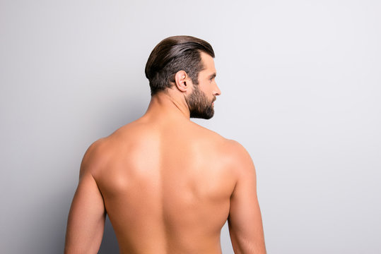 Back behind side profile rear view photo of handsome sexual salf-assured muscular masculine with modern stylish trendy hairdo hot strong man looking aside isolated on gray background