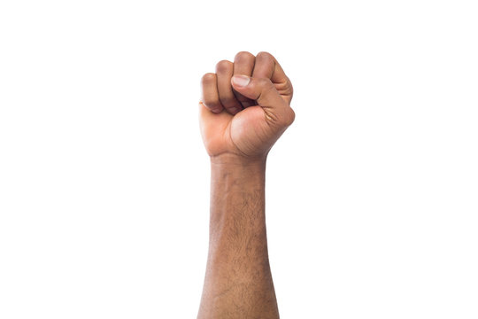 Male black fist isolated on white background