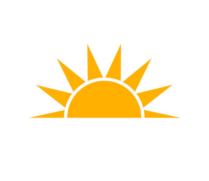 Orange sunset sun icon