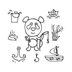 Lovely vector panda the fisherman with a rod and fish.