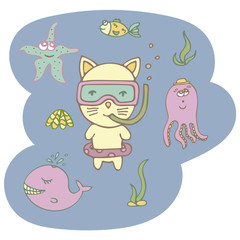Lovely hand-drawn vector kitten the diver with marine animals.