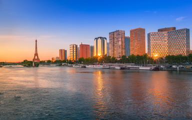 Eiffel Tower and River Seine at sunset, Paris, France