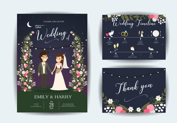 Wedding Invitation card. Flora flower rustic pattern set. Elegant  decorative wreath & frame. Vector template for printable.