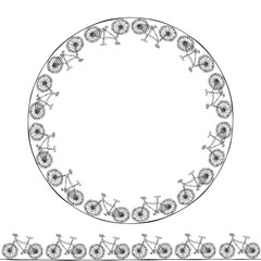Endless Pattern Brush or Ribbon of Bicycles. Circle Frame Bike Background. Realistic Hand Drawn Illustration. Savoyar Doodle Style.