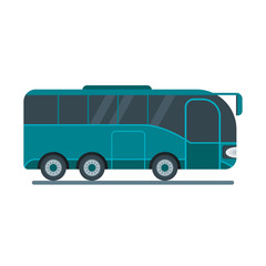 Bus for travel, takes tourists on a tourist route. Flat vector cartoon illustration. Objects isolated on a white background.