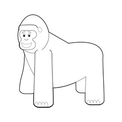 Easy Coloring Animals for Kids: Gorilla