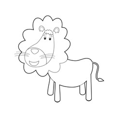 Easy Coloring Animals for Kids: Lion