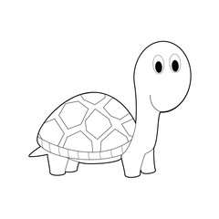 Easy Coloring Animals for Kids: Turtle