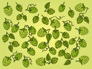 Hops background cartoon vector illustration