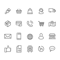 Online shopping flat line icons. E-commerce business, contacts, support, shop basket, sale, delivery, discount illustrations. Thin signs for web store. Pixel perfect 48x48. Editable Strokes