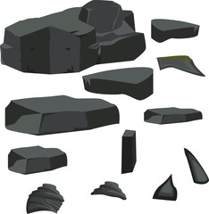 a set of different stones, dark, gray, large, rock
