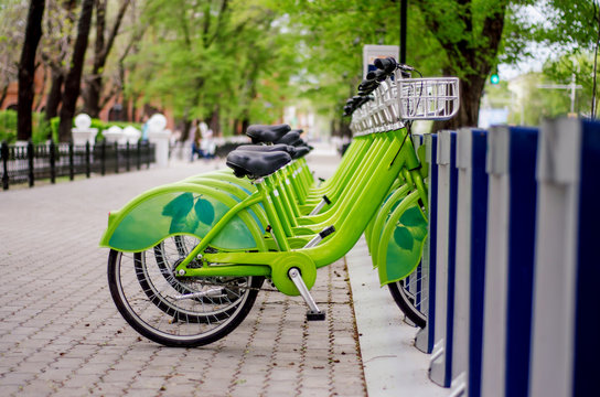 Bicycle rental system. Ecologically clean transport. bicycle sharing.