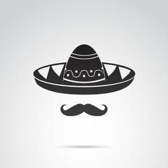 Sombrero and mustache - mexican guy. Vector art.