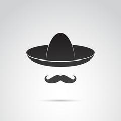 Sombrero and mustache - mexican guy. Vector art.